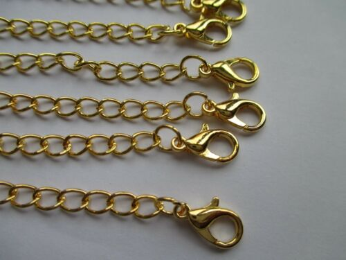 UK 6 x Double Clasp Gold Extension Necklace Bracelet  Jewellery Extender Chain