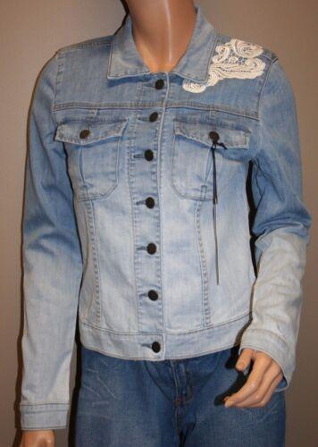 Blue Denim Størrelse Shabby Lace Jacket m Coat Spring Moto P7zqIxPa
