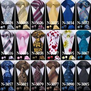 100-Color-Blue-Black-Red-Purple-Brown-Men-039-s-Tie-Necktie-Set-Silk-Hanky-Cufflinks