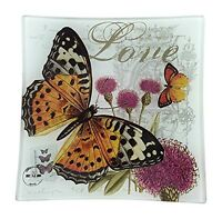 French Decor Square Glass Tray - Butterfly - 6 Square on sale