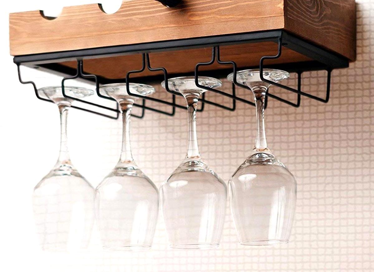 Mural Casier à vin avec porte-verre Horizontal Hanging étagère pour 4 bouteilles