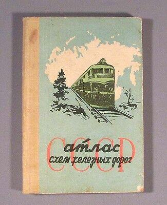 Book Atlas Railway Railroad USSR Russian Map Old Vintage Soviet Scheme CCCP