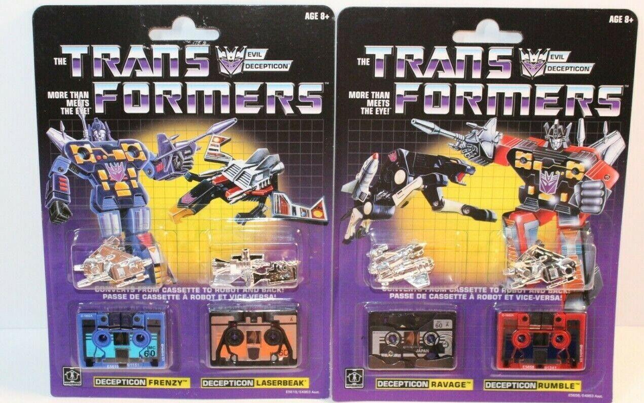 Transformers G1 cassettes Frenzy Rumble laserbeak Ravage  réédition  sortie en ligne