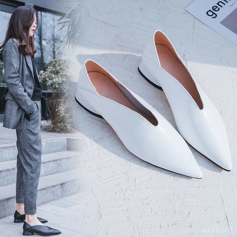 Donna Pointed Shoes Toe Slip On Mule Slipper Flat Leisure Shoes Pointed Vintage Korean Loafers 5e74c1