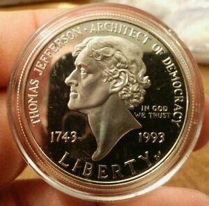 1993-P-Jefferson-250th-Anniversary-Commem-Silver-Dollar