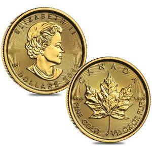 Lot-of-2-2019-1-10-oz-Canadian-Gold-Maple-Leaf-5-Coin-9999-Fine-BU-Sealed