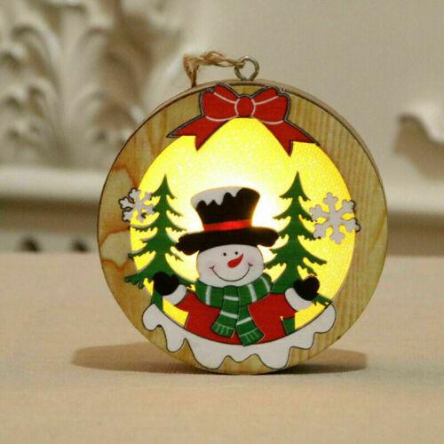 Christmas Light Up Decorations LED Light Wooden Xmas Festive Tree Ornament