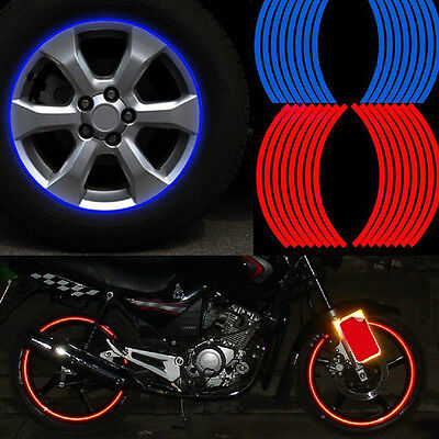New 16 Strips Wheel Sticker Reflective Rim Stripe Tape Bike Motorcycle Car Tape