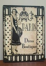"Vintage Style Paris Dress Boutique Metal Sign Shabby Chic Wall Decor 12"" x 9.5"""