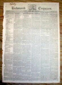 Rare original 1820 Richmond VIRGINIA newspaper w RUNAWAY SLAVE REWARD AD