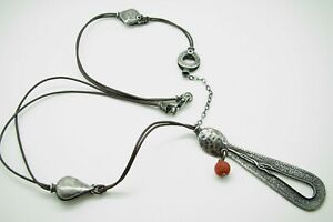 SILPADA-N1950-Sterling-Silver-TEARDROP-PENDANT-Coral-Bead-HAMMERED-NECKLACE