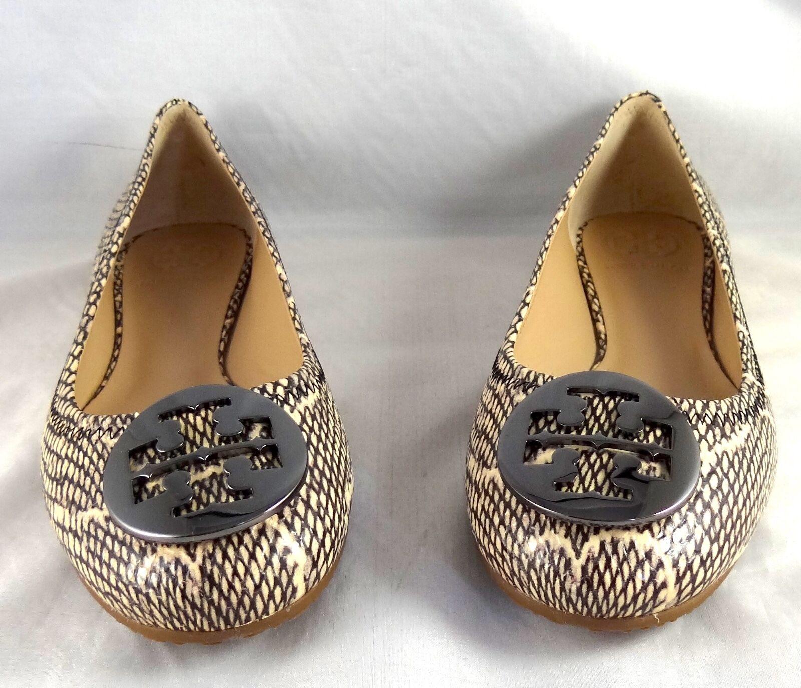 Tory Burch Reva Reva Reva Cobra impresión Cuero BALLET zapatos planos 5-12  servicio considerado