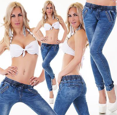 Women's Pull-On Drawstring Cuffed Denim Jeans - XS/S/M/L/XL