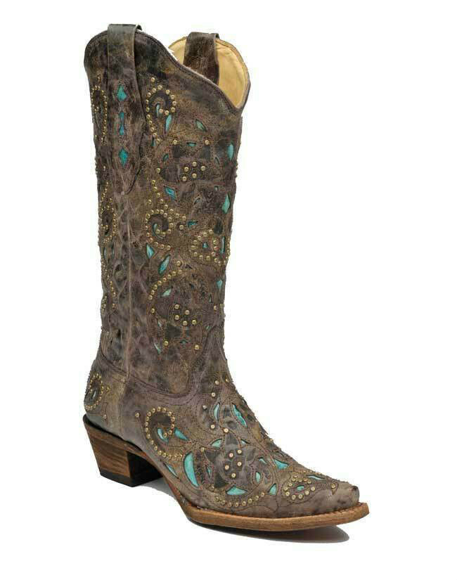 femmes Corral Western démarrage Distressed marron Crater Turquoise Inlay & Studs A1099