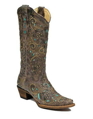 Womens Corral Western Boot Distressed Brown Crater Turquoise Inlay & Studs A1099