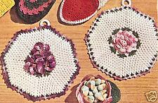 Vintage Crochet PATTERN to make Irish Rose Pot Pan Holder Hot Pad Mat RosePot