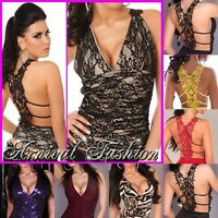 NEW HOT WOMEN'S SLEEVELESS TOP BLOUSE sz 6 8 10 LADIES CLUB PARTY LACE SHIRT S M