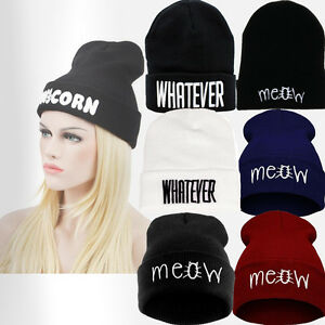 7ea9d0d5bf4 Image is loading Winter-Knitted-Letter-Beanie-Hat-Snapback-Warm-Mens-
