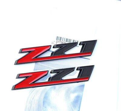 2x OEM Matt Black  Z71 Red Emblems GM Chevy Silverado Sierra Tahoe Suburban UY
