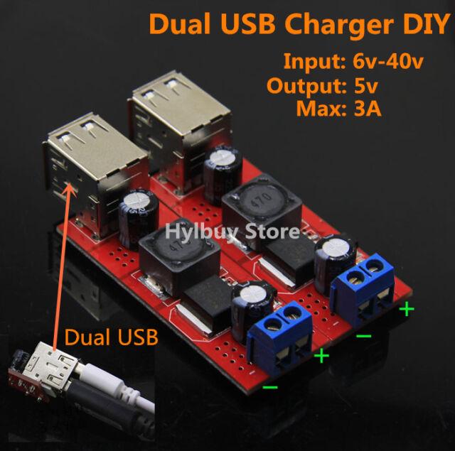 Dual USB DC Buck Step down Converter 6v 12v 24v 36v to 5V CAR Charger Module DIY