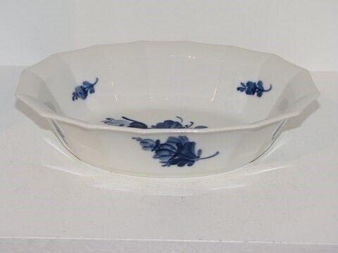 Porcelæn, Blå Blomst Kantet  Oval skål, Blå Blomst