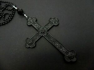 NEW. GOTH A LOVELY   LARGE BLACK CROSS//CRUCIFIX NECKLACE