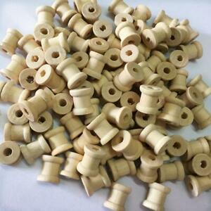 100x Wooden Empty Thread Spools for Sewing Craft Wire Ribbon Floss 14mmx12mm