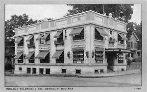 Seymour-Indiana-Telephone-Company-Office-Building-Striped-Awnings-House-1940-B-amp-W