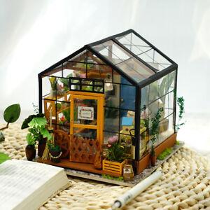 ROBOTIME-Dollhouse-Wooden-Room-Kit-Miniature-Flower-Green-House-Home-Decoration