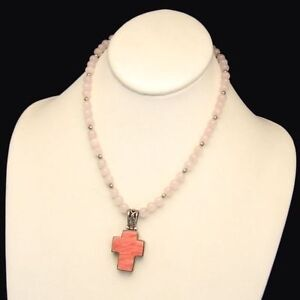 Vintage-Filigree-Hearts-Cross-Pendant-Necklace-Rose-Quartz-Beads-Reversible