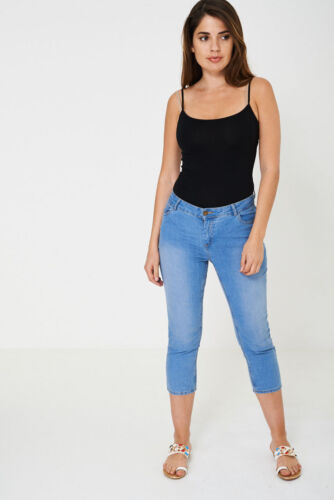 NEW LADIES WOMENS BLUE DENIM CROPPED JEANS SIZE 10 12 14 16 18 20