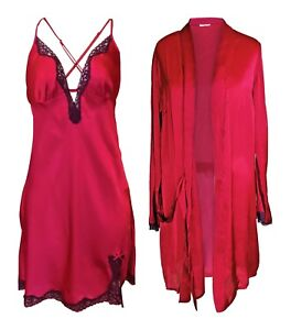 Rouge-Gorge-Gorgeous-High-Quality-Deep-Red-Chemise-amp-Matching-Wrap
