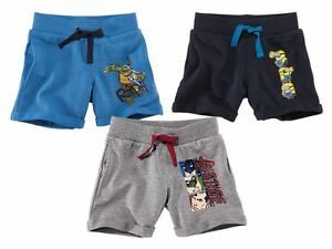 Boys-039-Sweat-Shorts-Justice-League-Turtles-Minions-2-4-6-8-10-age-Blue-Grey-Navy