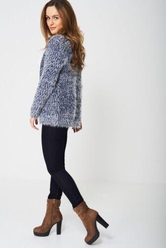 Womens C/&A Jessica Fluffy Navy Grey Melange Knit Eyelash Open Cardigan S M L XL