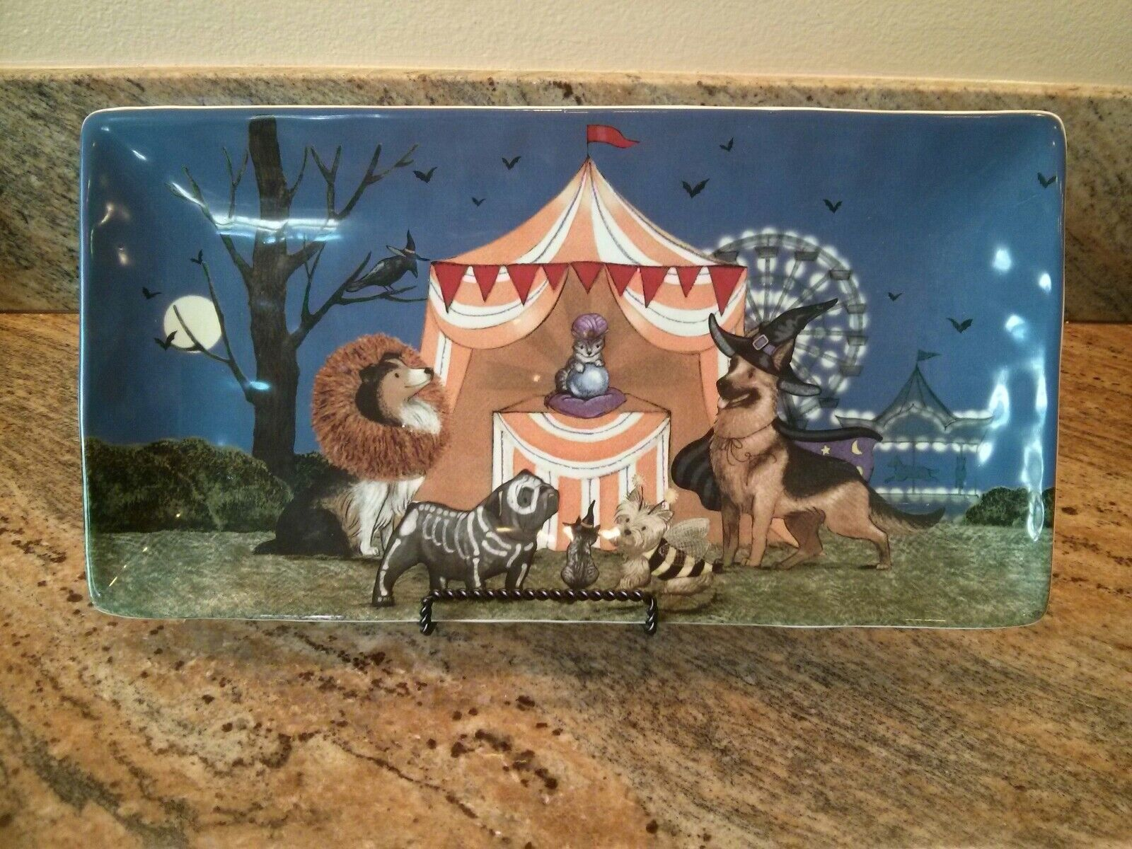 Pier 1 Halloween Park Avenue Puppies Dogs Serving Rectangular Platter New Rare