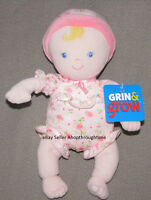 Sassy Grin Grow Soft Baby Doll Pink Rose Suit Hat Rattle Blonde Stuffed Toy Girl