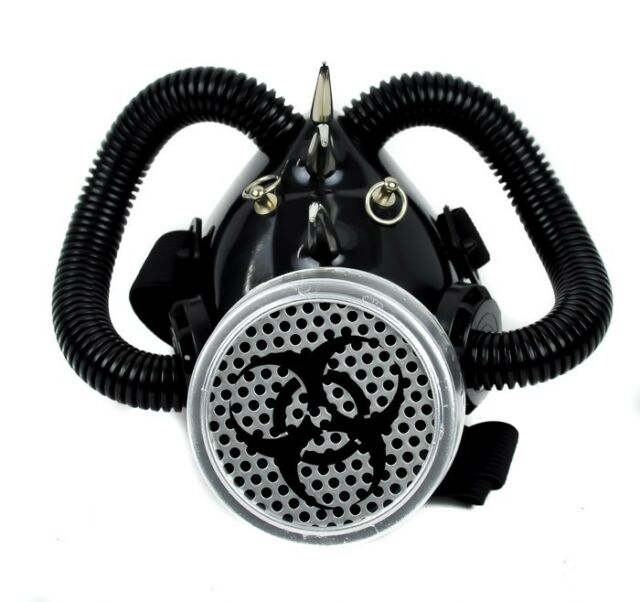 Bio Hazard Gas Mask with Single Respirator Cyber Goth Rave Halloween Cosplay