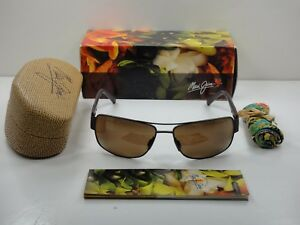 5326b8ab6a6 MAUI JIM OHIA POLARIZED H703-01M SUNGLASSES BROWN FRAME BRONZE GLASS ...