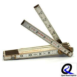 Vintage-Craftsman-Extension-Ruler-6-039-72-034-Folding-Wooden-Ruler-3936-Brass-Spring