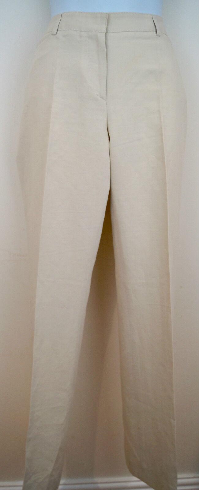 NICOLE FARHI Cream Beige Linen & Cotton Formal Summer Trousers Pants UK10 EU36