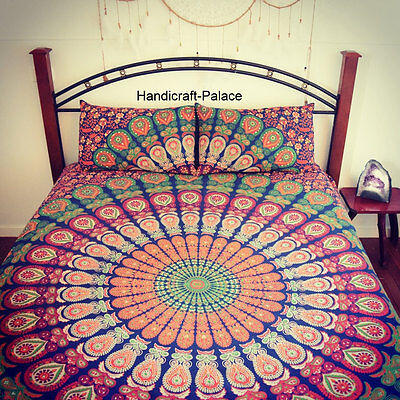 TWIN BLUE INDIAN WALL HANGING HIPPIE MANDALA TAPESTRY BOHEMIAN BEDSPREAD DECOR
