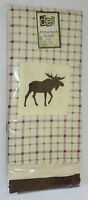 Moose Dish Towel Set (3) Plaid Embroidered Off White Brown Maroon Kitchen Cotton
