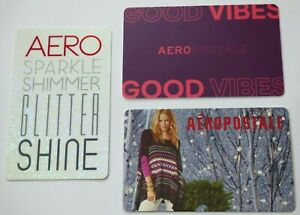 Aeropostale-Gift-Card-LOT-of-3-Christmas-Sparkle-Shimmer-Glitter-No-Value