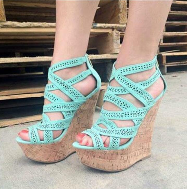 Donna Platform Platform Platform High Wedge Heels scarpe Peep Toe Pumps Hollow Out Casual Sandals 5d6bf1