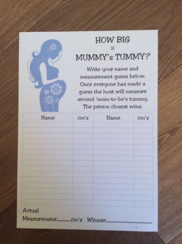 How big is Mummy/'s Tummy 30 Player Game Tape Measure A16 Baby Shower