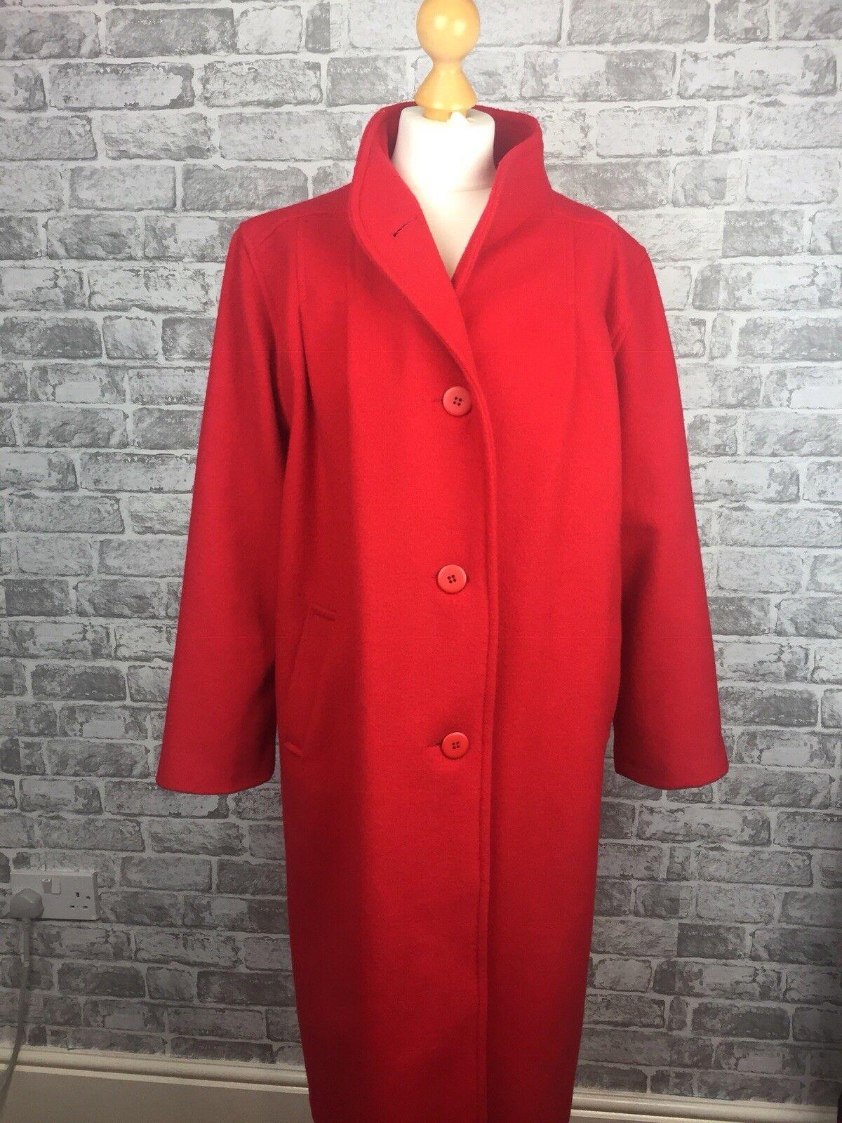 Debenhams rot 100% WOOL Long Coat Duster Winter Größe 14 Smart Career