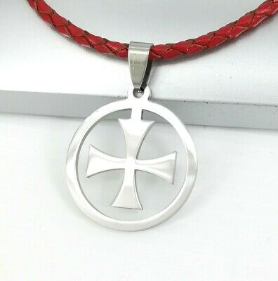 Silver Round Knights Templar Cross Pendant 3mm Braided Red Leather Cord Necklace