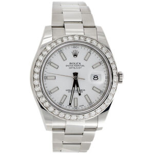 Mens 41mm 116300 Rolex DateJust II Real Diamond Watch White Stick Dial 2.75 CT.