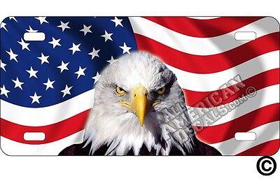 American Bald Head Eagle Patriotic Novelty License Plate Eagle Head on American Flag