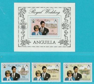 Anguilla Royal Wedding 1981 ** Postfrisch Minr. 442-444 + Block 38